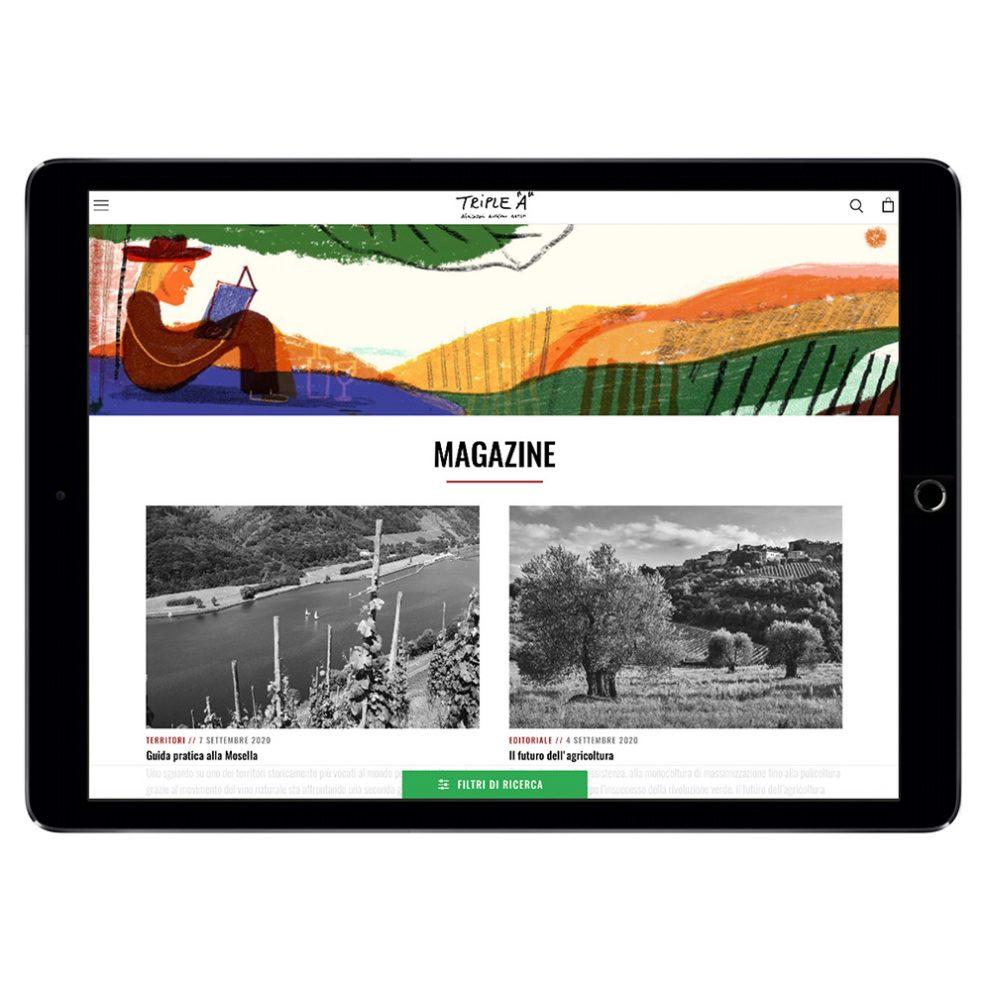 Triple A, vista iPad del sito realizzato da Blulab