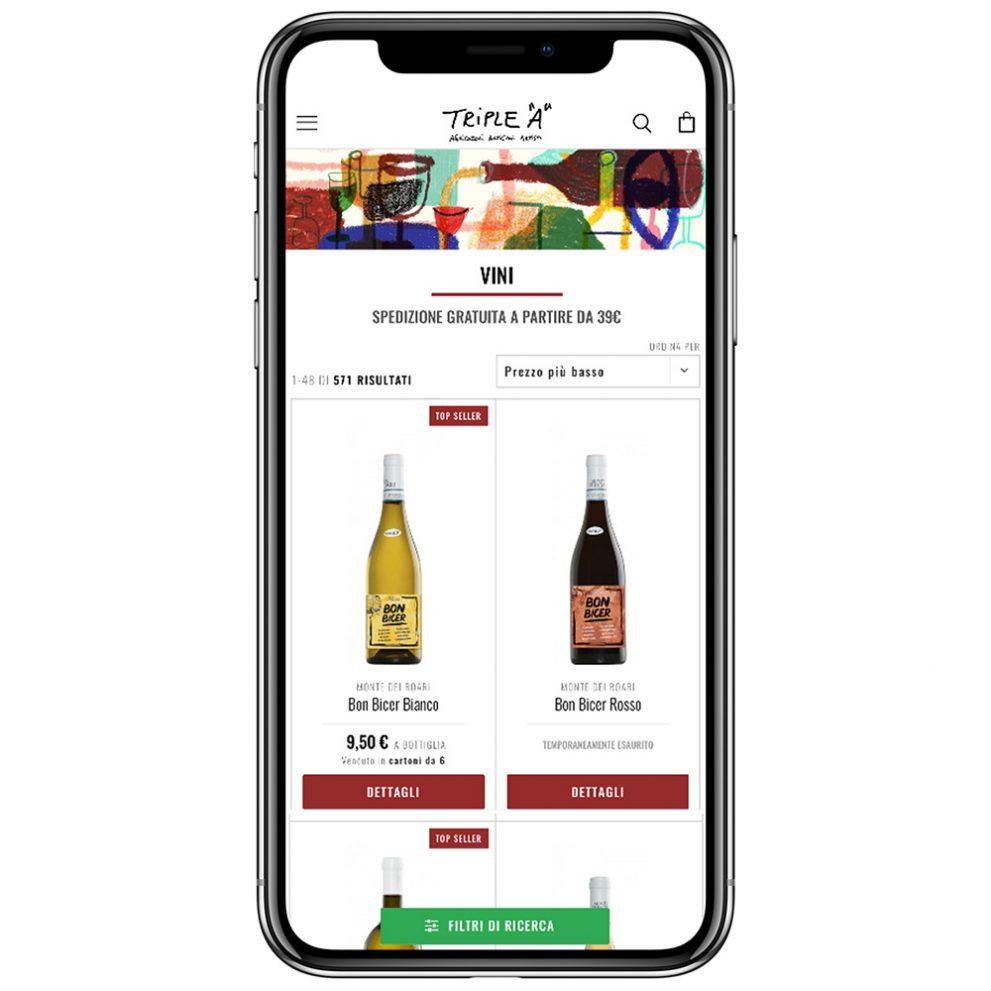 Ecommerce Triple A: vista su dispositivo mobile Apple (iPhone)