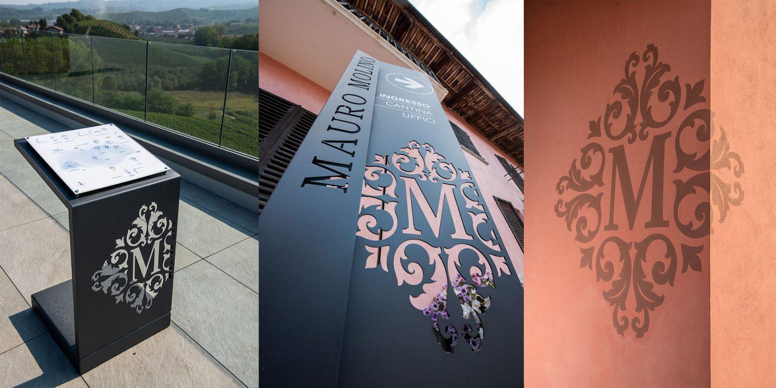 Logo Mauro Molino: stencil e design su lamiera diferro